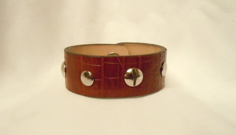 1 Inch Alligator Grain Brown Leather Cuff CBB-105