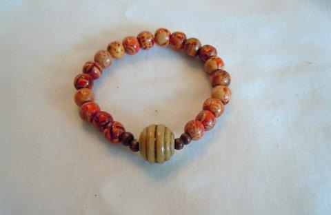 Wooden Beaded Stretch Bracelet TBB 102