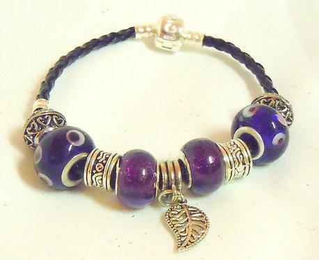 Purple Leaf Beaded Bracelet PB 101