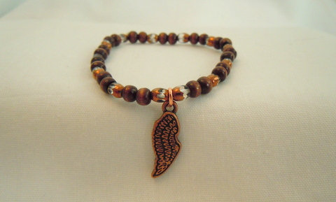 Brown Glass and Wood Beads Angel Wing EBB 101