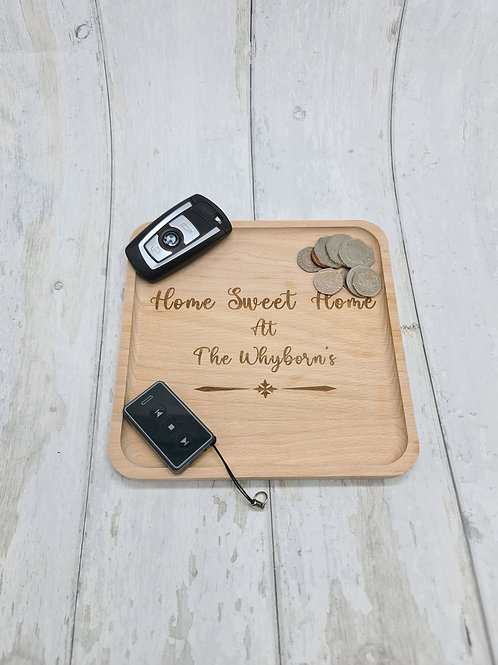 Wooden coin tray - Home sweet home