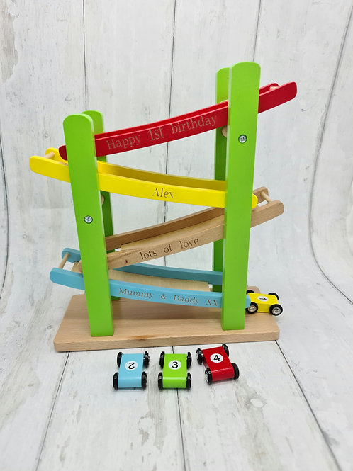Personalised Wooden Race Car Track With Cars