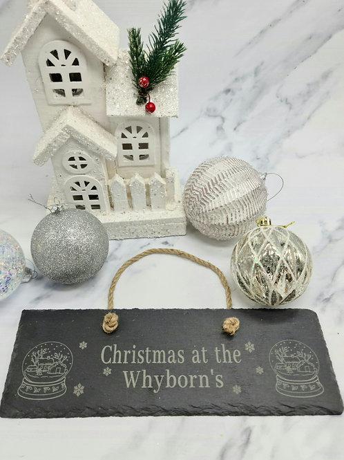 Snow globe slate sign personalised
