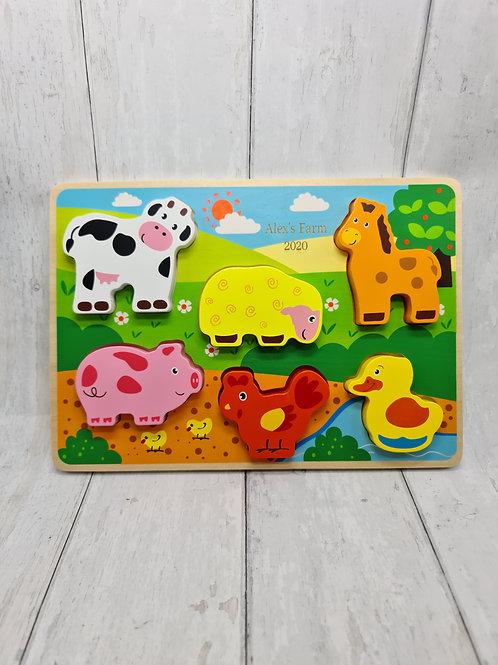 Wooden farm animal puzzle