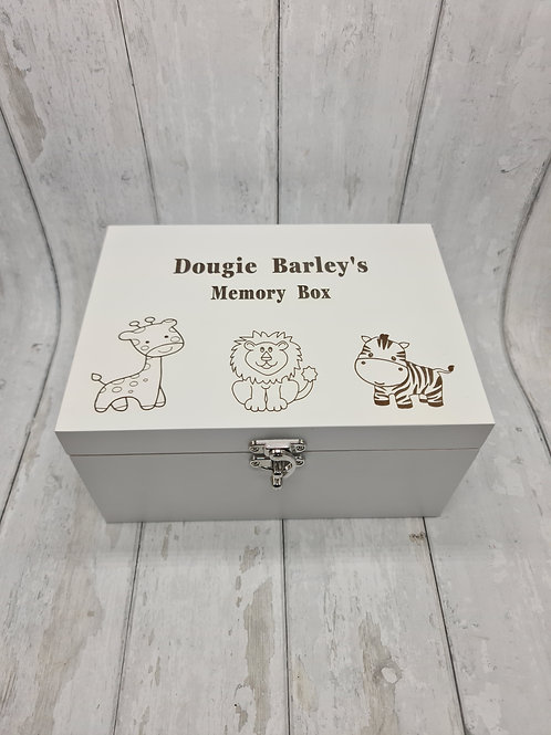 White animal memory box