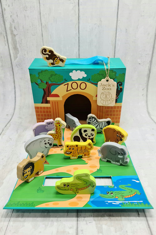 Wooden zoo Animals with foldaway cardboard carrier