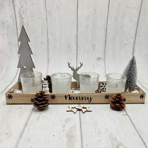 Glitter winter woodland scene candle tray