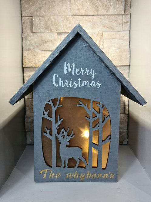 Personalised Merry Christmas Illuminated House