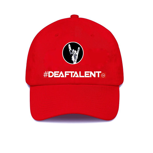 Embroidered Red #DeafTalent™ Baseball Cap (PreOrder)
