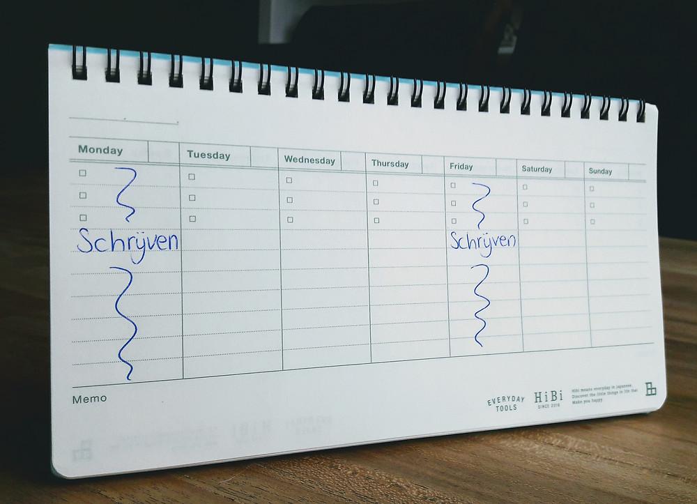 Plan schrijftijd in