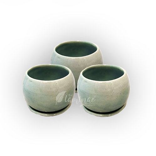 Ceramic Pot Footed Curvy Bottom Pot With Saucer - Set of 3