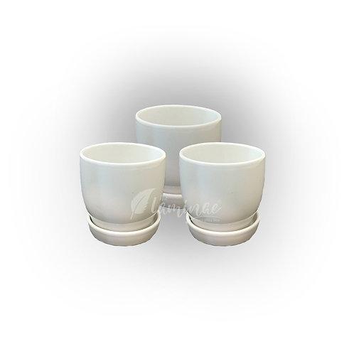 Ceramic Pot Curvy Bottom Planter with Saucer S1 - Set of 3