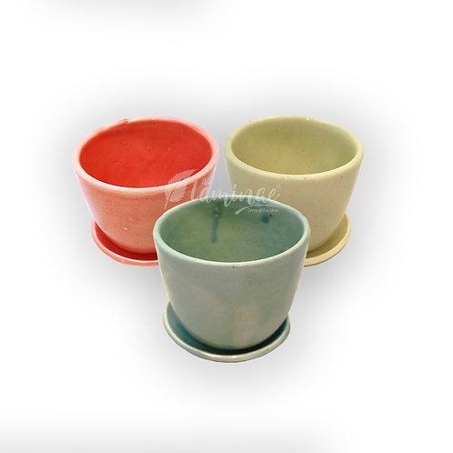 Ceramic Pot Cup pot with Saucer - Set of 3