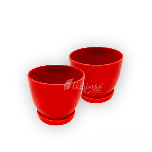 Ceramic Pot Curvy Bottom Planter with Saucer S2 - 1 Planter in packet