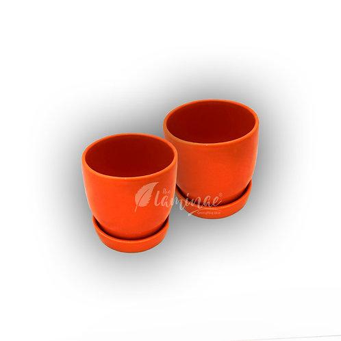 Ceramic Pot Curvy Bottom Planter with Saucer S1 - Set of 2
