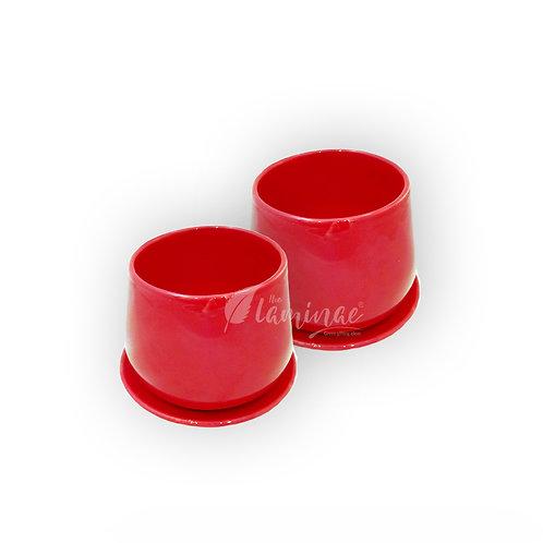 Ceramic Pot Unami Bowl Planter with Saucer - Set of 2