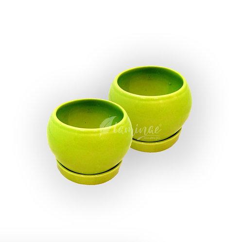 Ceramic Pot Apple Planter With Saucer - Set of 2
