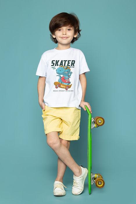 front-view-cute-child-boy-white-t-shirt-