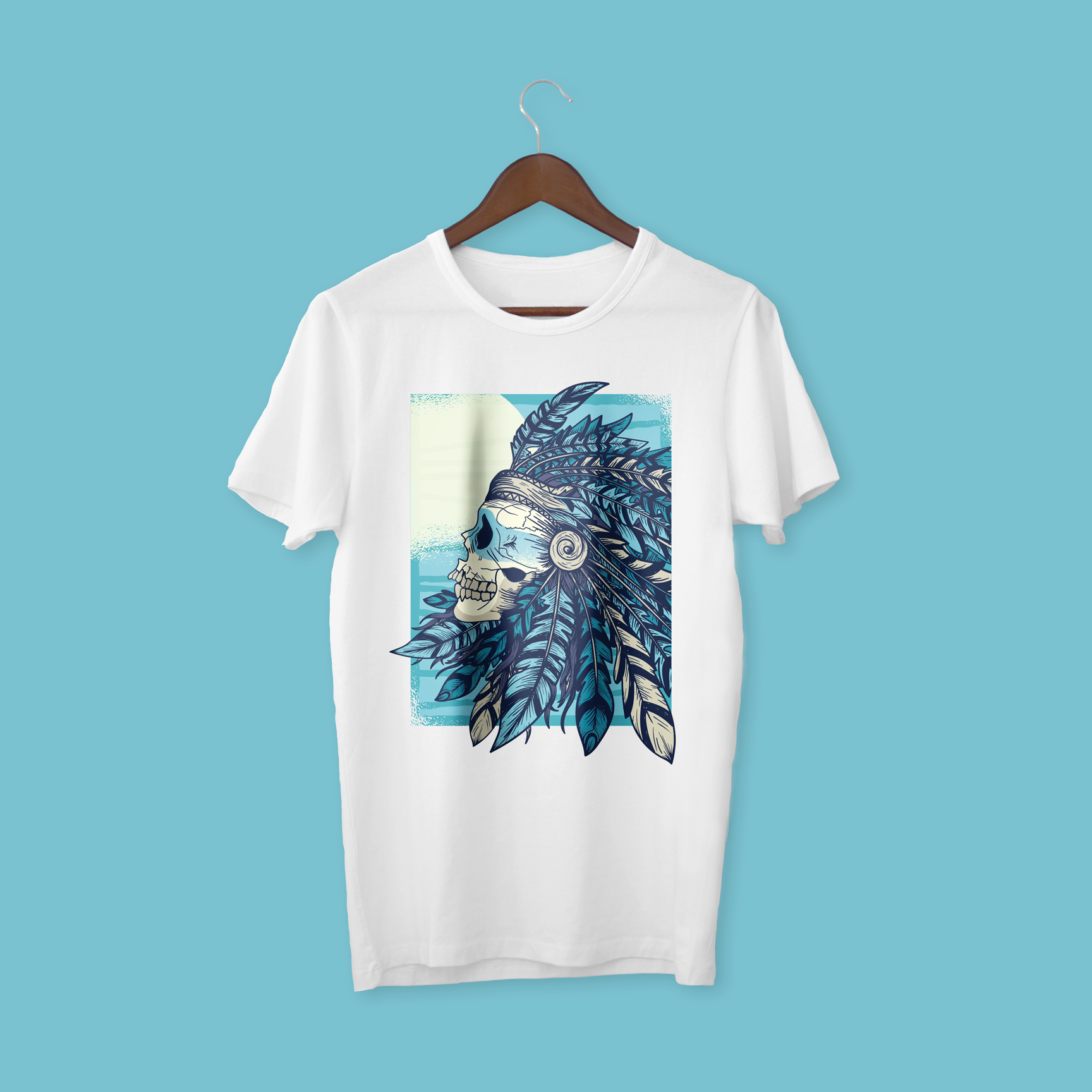 NATIVE-SCULL-WHITE-TEE