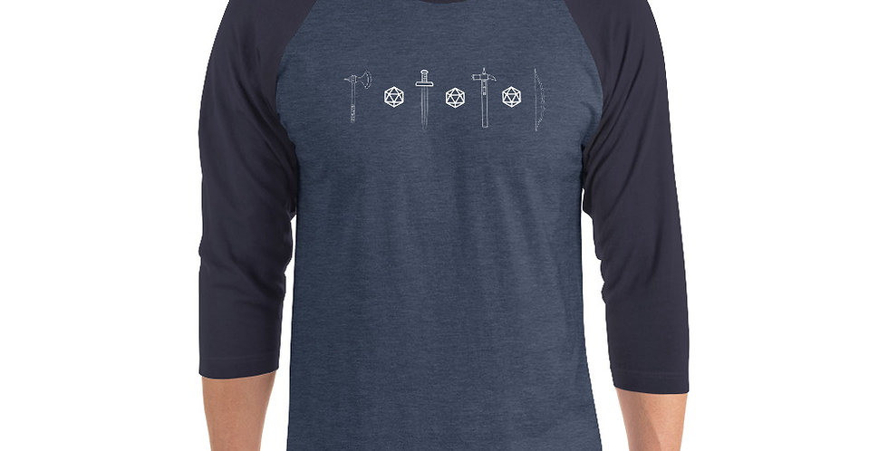 Dice and Dungeons 3/4 sleeve raglan shirt