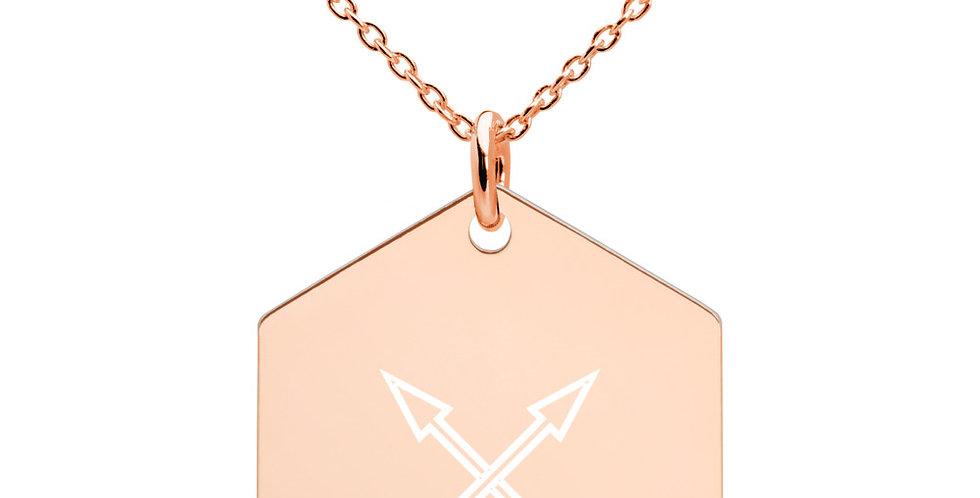 Arrow Silver Hexagon Necklace