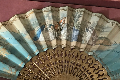 French hand painted fan c 1850 (cased)