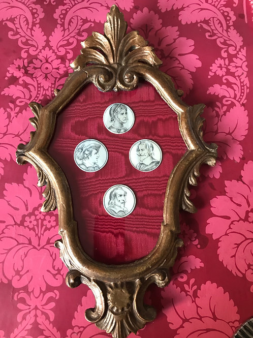 A set of ivory gaming tokens c1675 -1700 in gilt frame