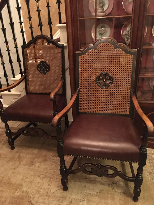 Pair of 19th Century Oak  Caned back Armchairs