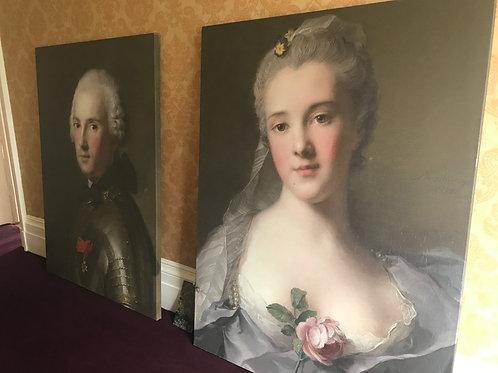 A pair of large canvas prints Jean Marc Nattier