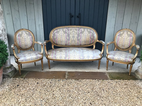 A French Louis XV style 3 piece suite late 19th century