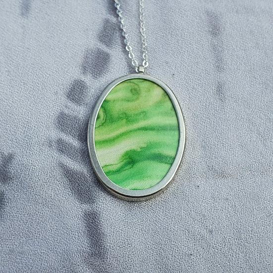 Green Hand-Painted Silk Pendant