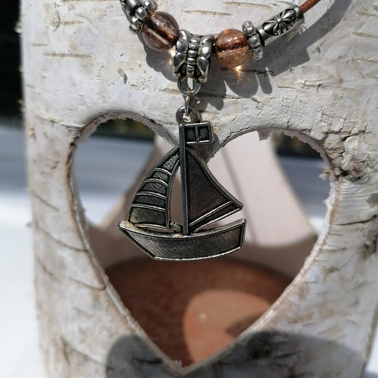 Sailing Boat Charm and Beads, Corded Necklace
