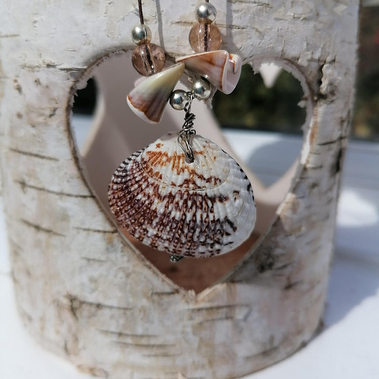 Triple Shell and Beads, Corded Necklace
