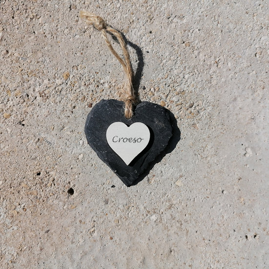 Small Croeso Slate Heart Hanger