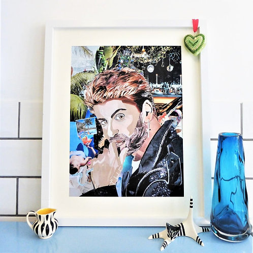 Limited Edition George Michael Paper Collage Framed Print