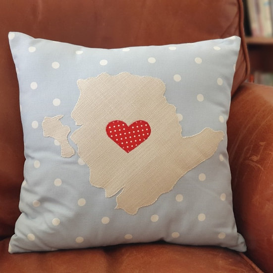 Light Blue Anglesey Cushion With Red Heart