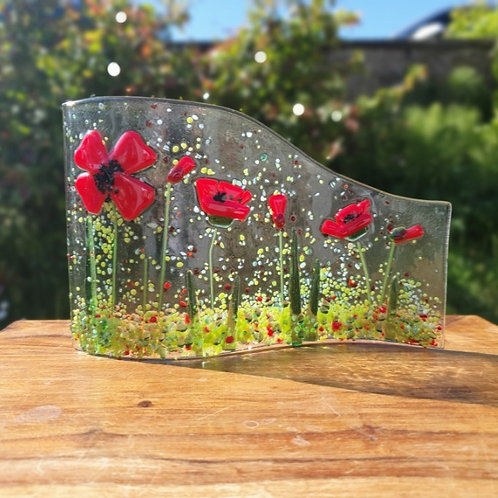 Poppy Fused Glass Wave