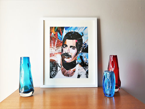 Limited Edition Freddie Mercury Paper Collage Framed Print