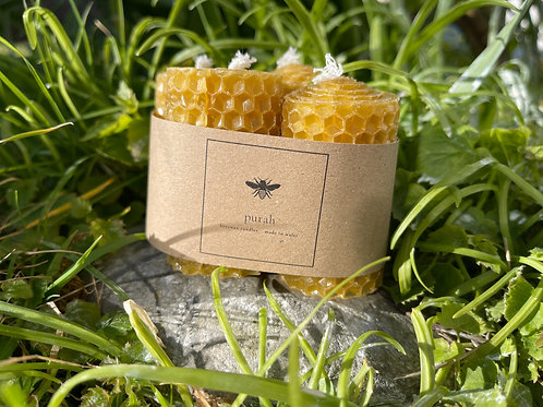 Set of 4 Mini Hand-Rolled Beeswax Candles
