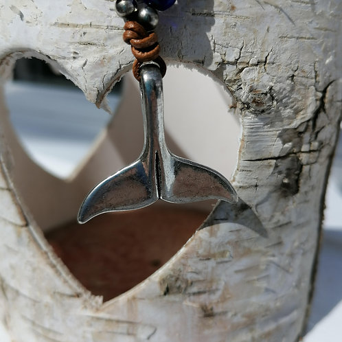 Whale's Tail Charm and Beads, Corded Necklace