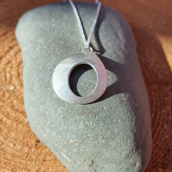 Brushed Silver Pendant Necklace