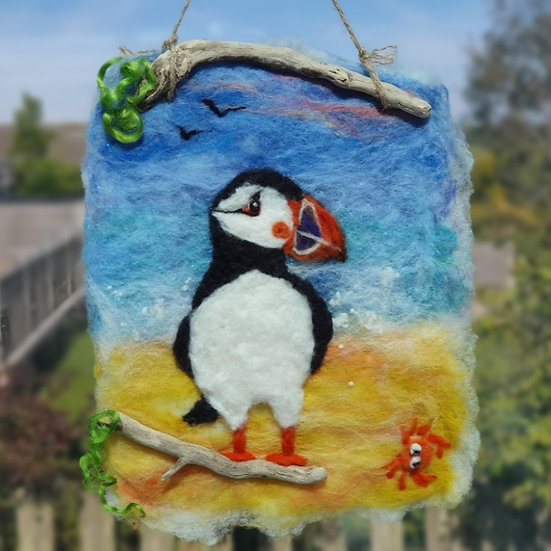 Puffin & Crab Felt Picture