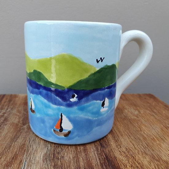 Boats on the Strait Ceramic Mug