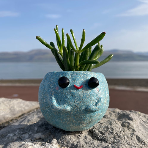 Speckled Blue Happy Pot