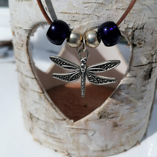 Dragonfly Charm and Beads, Corded Necklace