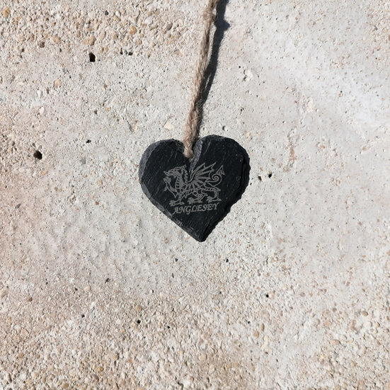 Small Anglesey Dragon Slate Heart Hanger