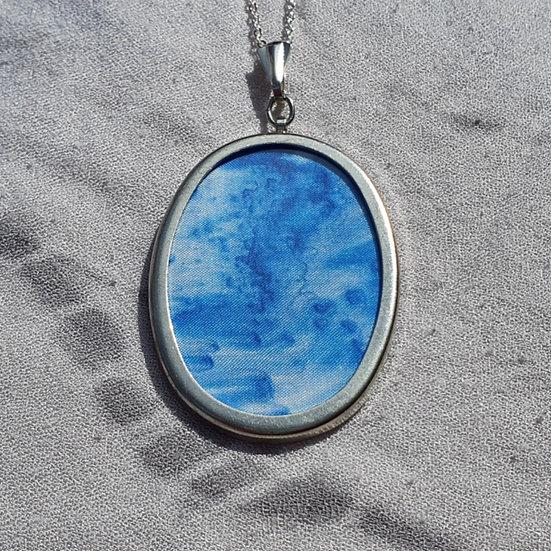 Blue Hand-Painted Silk Pendant