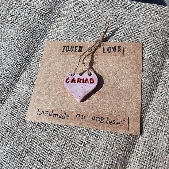 Ceramic Pink Cariad Heart