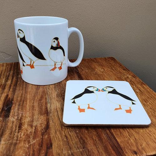 Puffin V Mug & Coaster Set