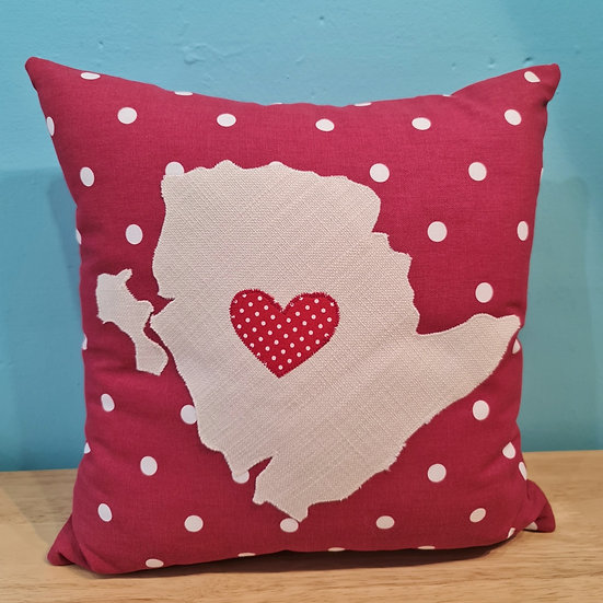 Red Anglesey Cushion With Red Heart